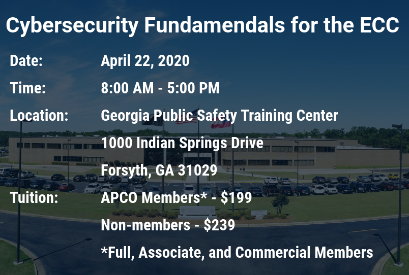 APCO Cybersecurity Training at GPSTC Registration Information